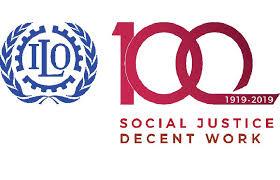 Logo che celebra i 100 anni dell'Organizzazione Internazionale del Lavoro