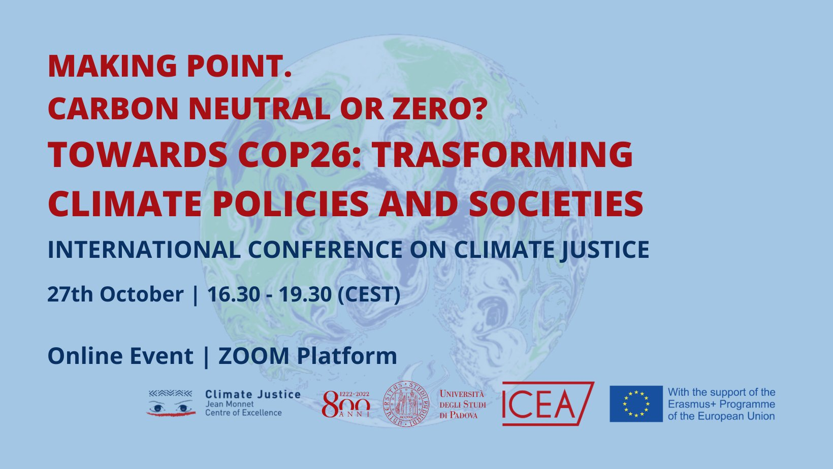 Depliant: International Conference on Climate Justice, 27/10/2021