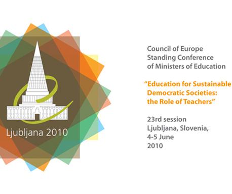 """Logo della Conferenza del Consiglio d'Europa su """"Educazione per le società democratiche sostenibili: il ruolo degli insegnanti"""""""