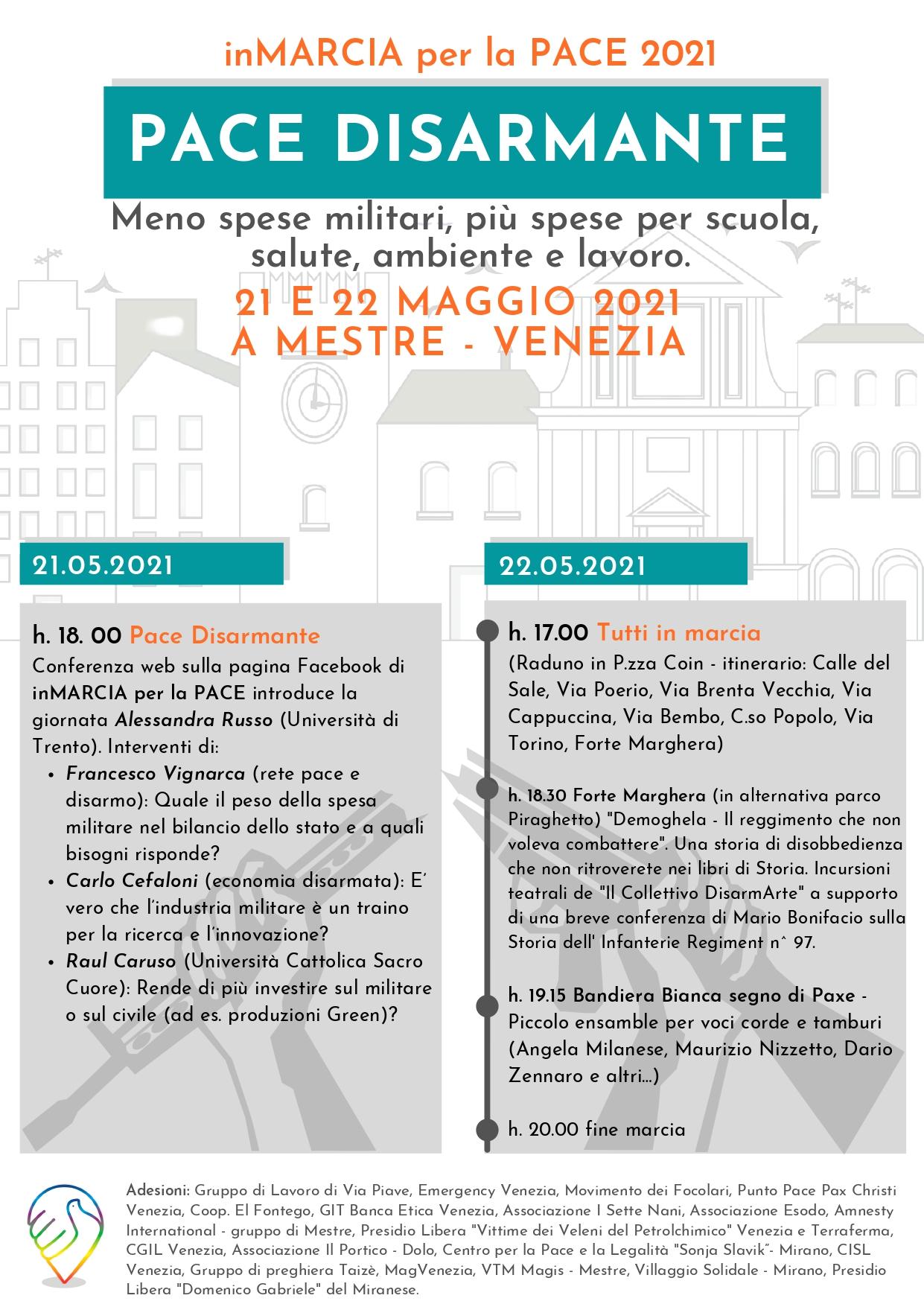 Locandina In Marcia per la Pace 2021, 21 e 22 maggio a Mestre (Venezia).
