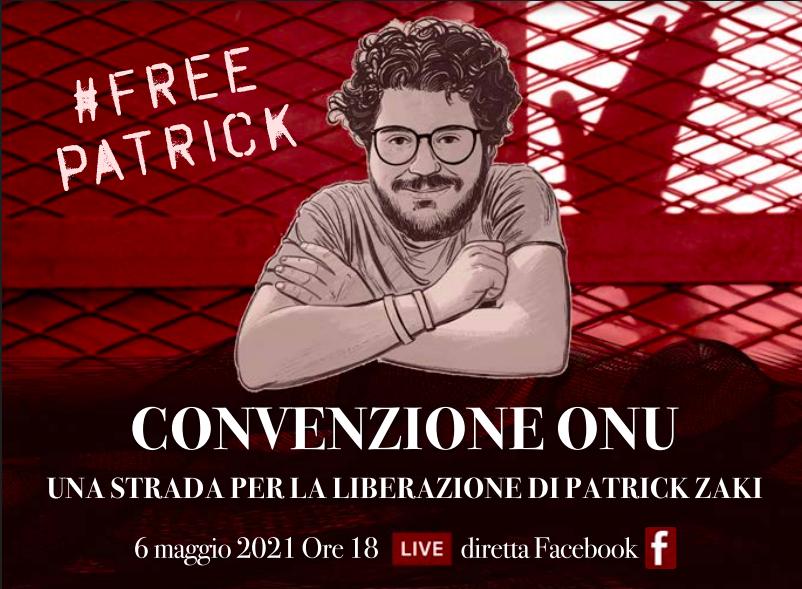 Locandina webinar dedicato alla liberazione di Zaky e promosso dalla sentatrice M. Mentevecchi che si terrà il 6 maggio 2021.