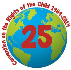 """sfondo bianco, mappamondo con al centro il numero 25 e attorno la scritta """"convention on the rights of the child 1989-2014"""""""