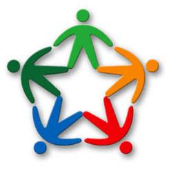 Logo del Servizio Civile Nazionale. Raffigura 5 omini colorati che si danno la mano e insieme formano il simbolo della Repubblica Italiana.