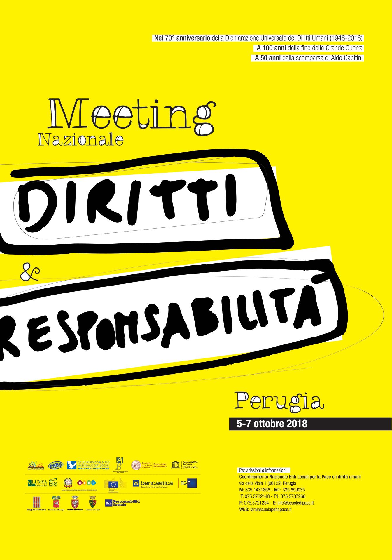 "Meeting nazionale ""Diritti e Responsabilità"", Marcia #PerugiAssisi, 5-7 ottobre 2018"