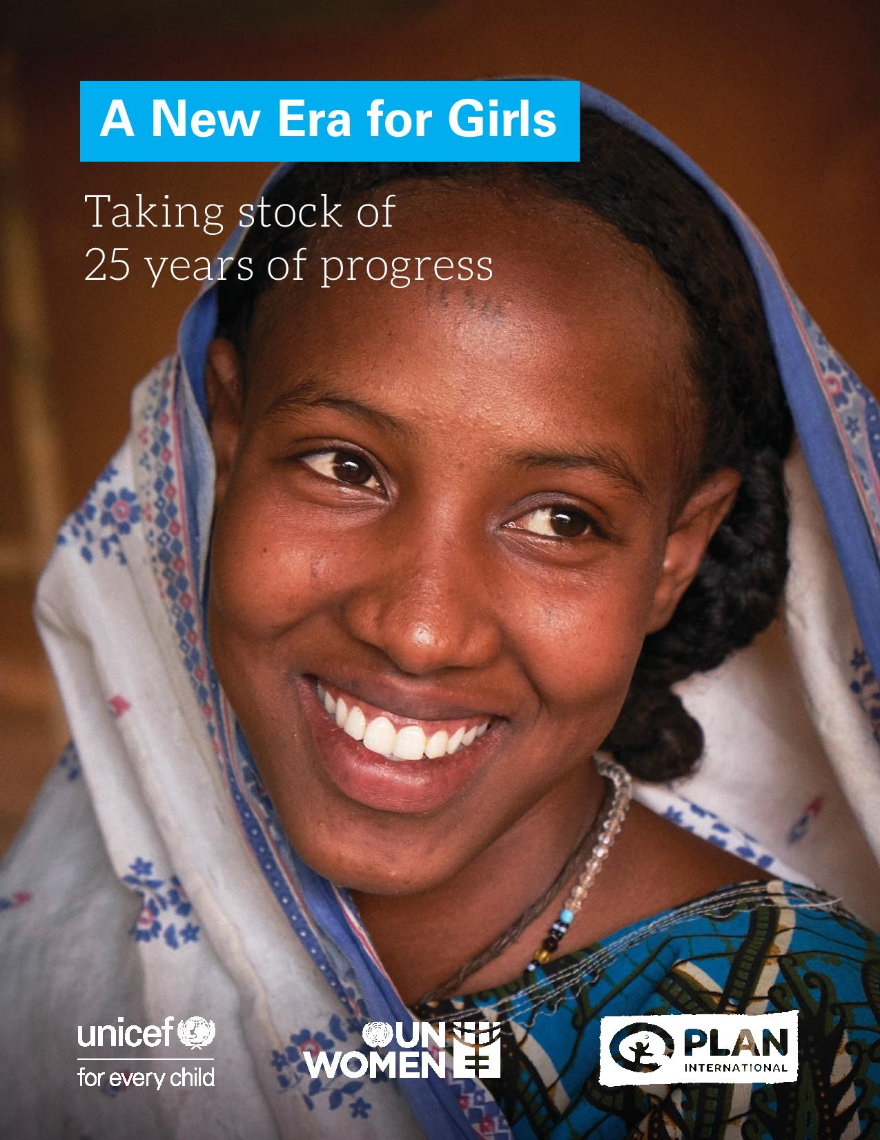 "Copertina del rapporto ""A New Era for Girls: Taking stock on 25 years of progress"" realizzato dall'UNICEF"