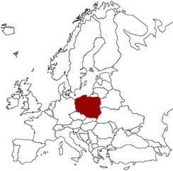 La Polonia evidenziata nella mappa dell'Europa