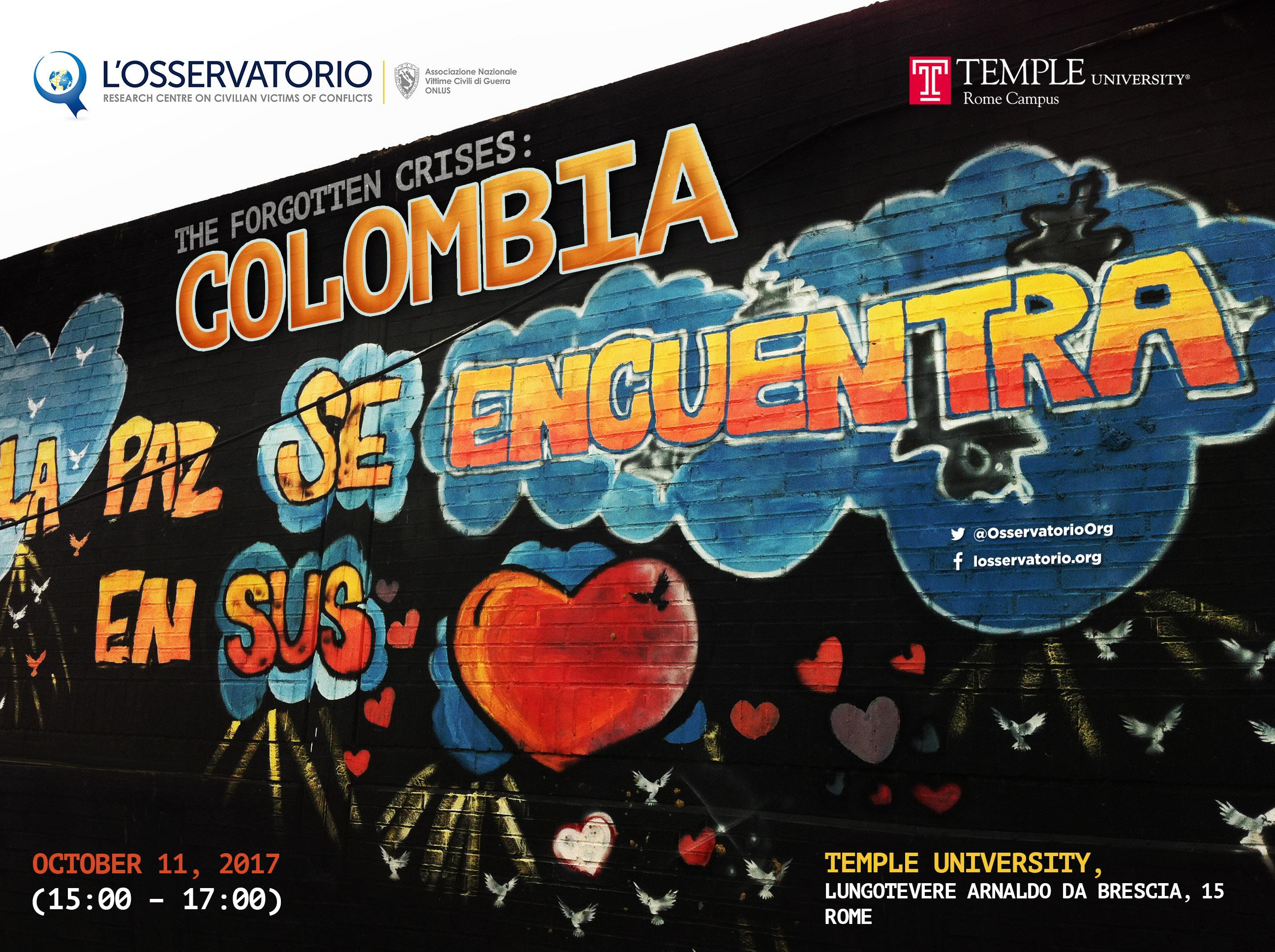 """Osservatorio sulle vittime civili dei conflitti, conferenza """"Crisi dimenticate: la Colombia"""", poster"""