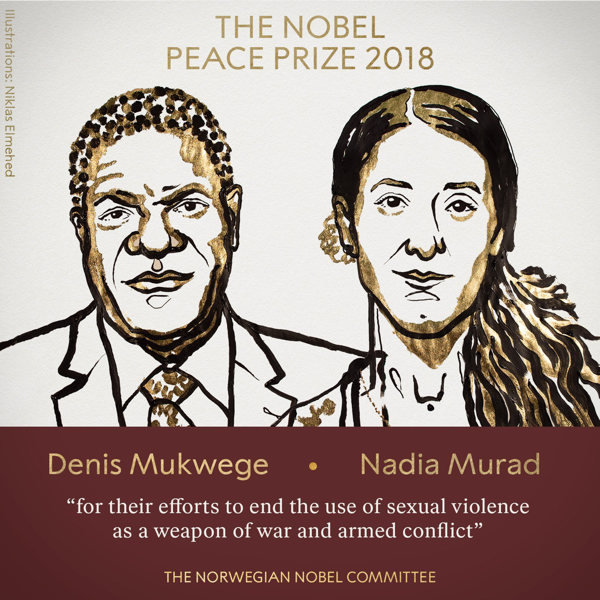 Premio Nobel per la Pace 2018 conferito a Denis Mukwege e Nadia Murad