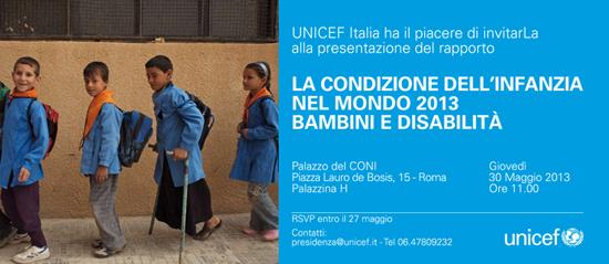 Locandina del Rapporto sulla condizione dell'infanzia nel mondo 2013, UNICEF
