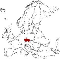 La Repubblica Ceca evidenziata nella mappa dell'Europa