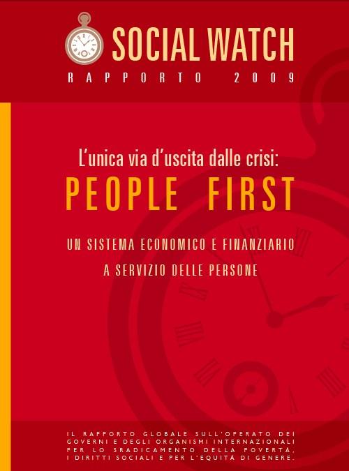 """Copertina dell'edizione italiana del Rapporto Social Watch 2010 """"L'univa via d'uscita dalle crisi: People First. Un sistema economico e finanziario a servizio delle persone"""""""