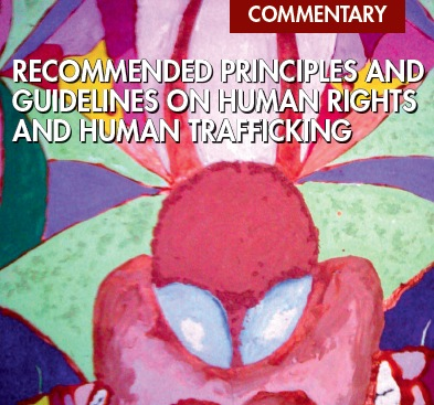 """Copertina del resoconto delle Nazioni Unite """"Recommended principles and guidelines on human rights and human trafficking"""", 2010"""