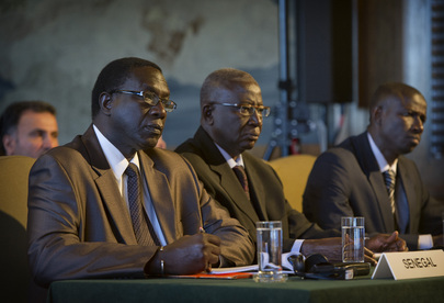 Membri della delegazione senegalese al momento della lettura della sentenza della Corte internazionale di giustizia, 27 luglio 2012