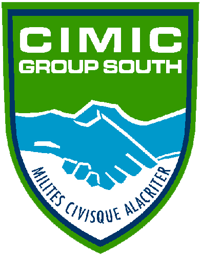 Official badge of the Multinational CiMiC Group. It represents two sylized shaking hands