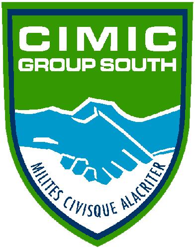 Stemma ufficiale del Multinational CiMiC Group. Rappresenta due mani stilizzate che si stringono