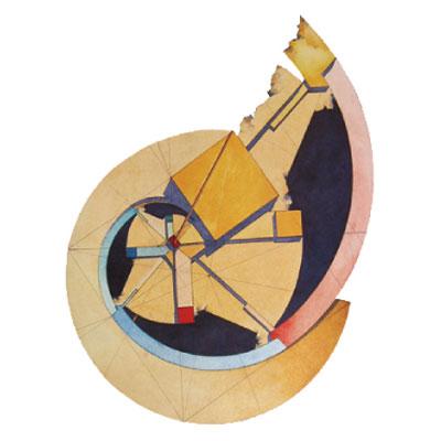 immagine astratta di forma semicircolare dai colori giallo, blu e rosso