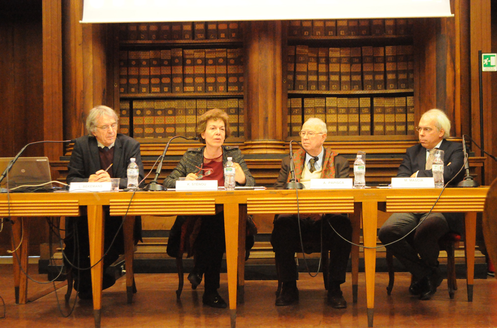 "From the left: Léonce Bekemans, Katérina Sténou, Antonio Papisca, Marco Mascia - Conference ""Challenges and Opportunities on Human Rights-based Intercultural Competences"", University of Padua, 23 March 2015"