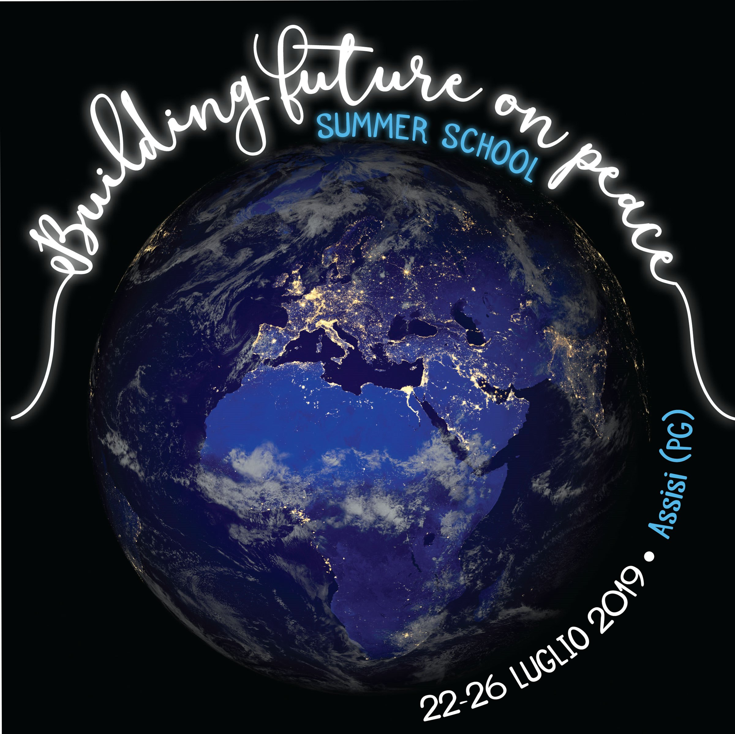 "Logo Summer School ""Building future on peace"", 22 - 26 luglio 2019, Assisi"