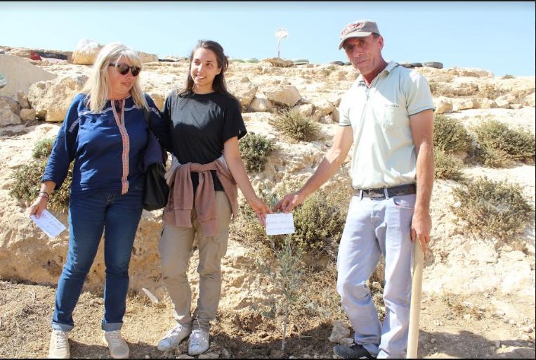 Foto con ulivo dedicato al professor Papisca in Palestina da Jessica Genova