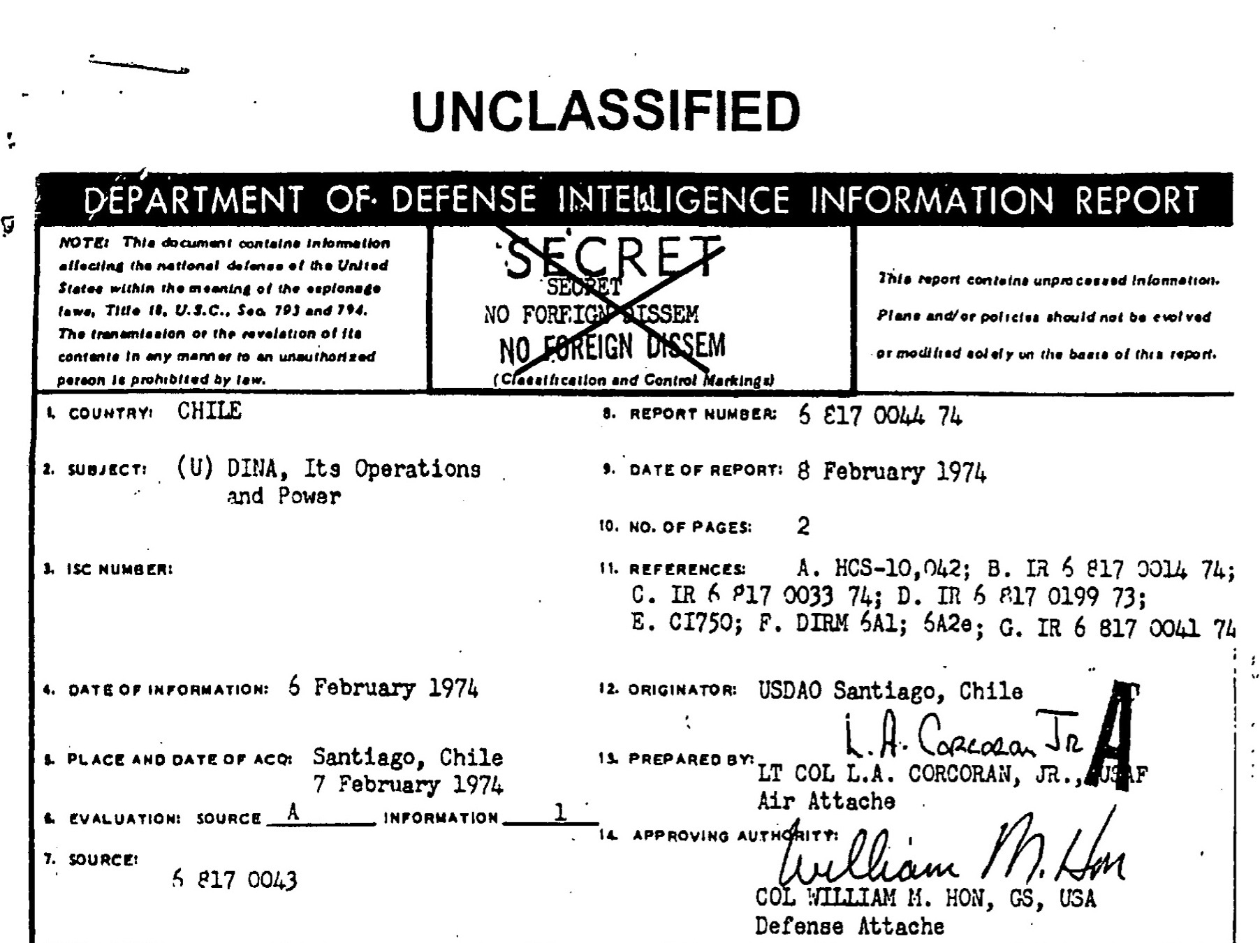 Unclassified report DINA operations and power