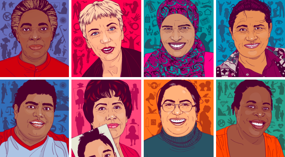 Women human rights defenders in an illustration by Illustration by artist María María Acha-Kutscher