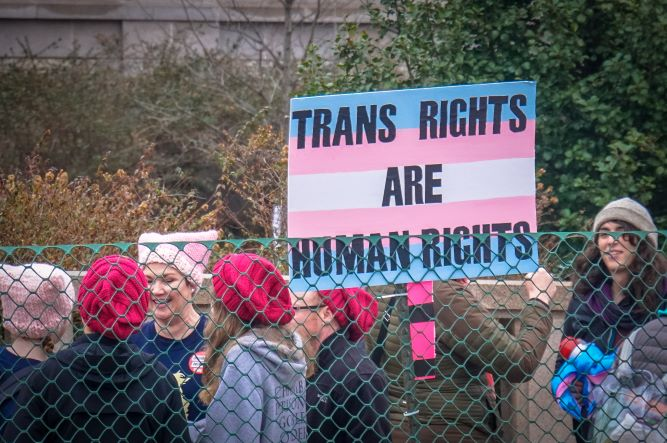 People participating Women's March in Washington D.C. holding a sign written: Trans Rights are Human Rights.
