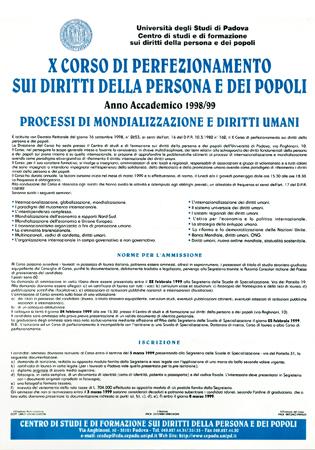 """Locandina del X Corso di Perfezionamento sui diritti della persona e dei popoli """"Processo di mondializzazione e diritti umani"""", Padova, 1998."""