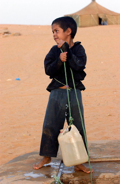A child from Dakhla Refugee Camp, Algeria, gets his fill of water from a well. (23 June 2003)