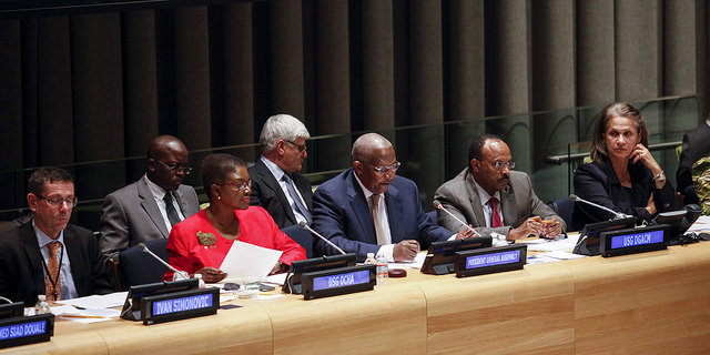 10 December 2014 - From left: Valerie Amos, Under-Secretary-General for Humanitarian Affairs and Emergency Relief Coordinator, President Kutesa, Ivan Šimonović, UN Assistant Secretary-General for Human Rights, Tegegnework Gettu, Under-Secretary-General of