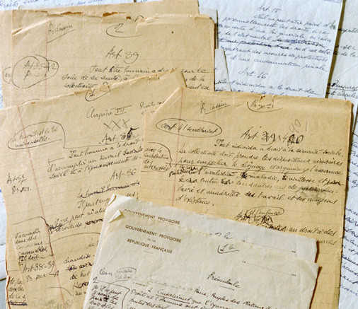 Original hand-written notes on several preliminary drafts of the Universal Declaration of Human Rights.