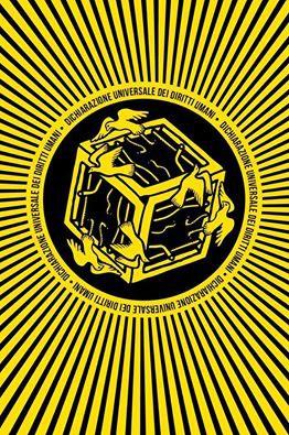 """Logo del Progetto """"L'arte per i diritti umani"""",  con la Dichiarazione universale dei diritti umani e le illustrazioni dell'artista Luca Vallese."""