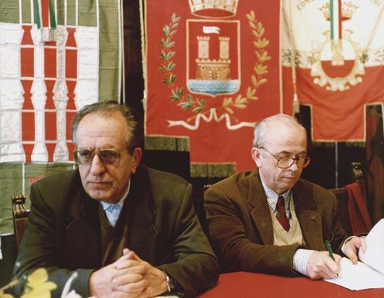 Perugia, marzo 1991, Assemblea del Coordinamento degli Enti locali per la pace: P. Ernesto Balducci e Antonio Papisca