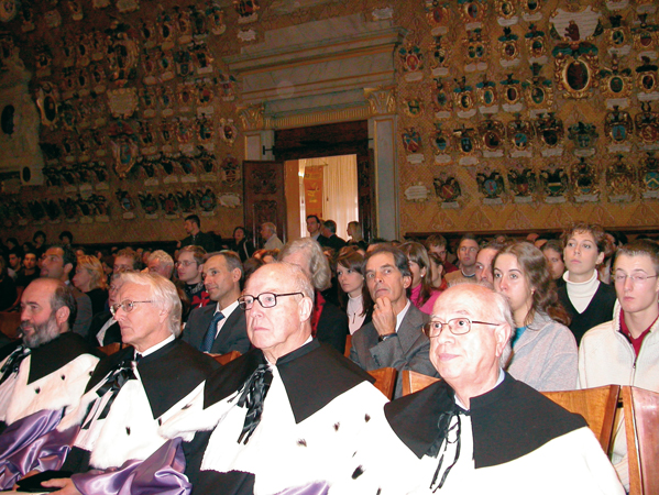 "At the conferment of the Laurea ad honorem (Degree ad honorem) in Political Science to Hans Blix, then Director of the United Nations Assistance Mission for Iraq. Main Hall ""G. Galilei"", University of Padua, 20 October 2004."