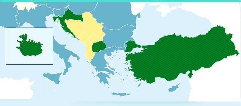 Mappa dei Paesi coinvolti nel Pacchetto allargamento 2010