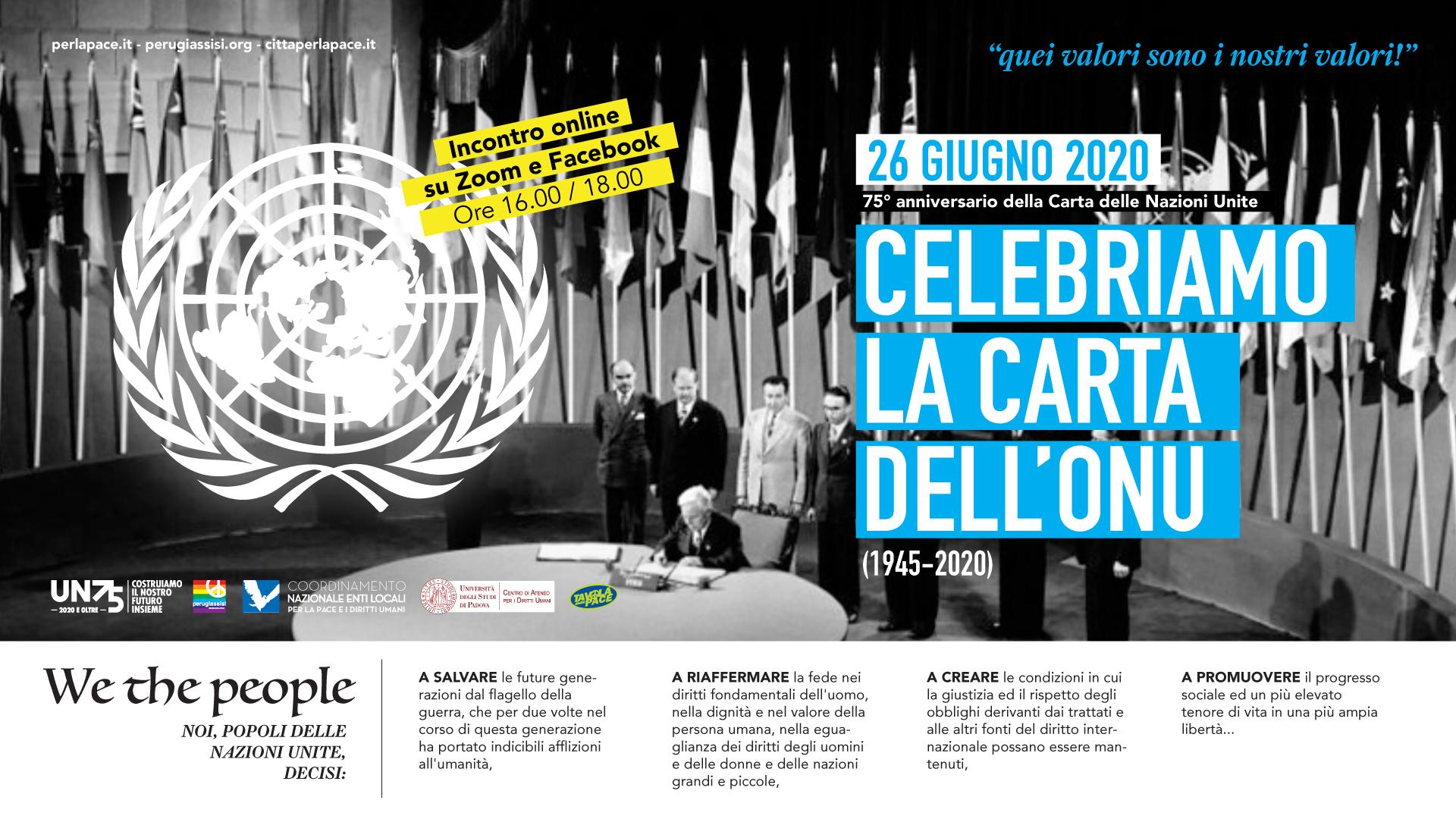 Celebriamo la Carta dell'ONU, 26 giugno 2020, 75° anniversario della Carta delle Nazioni Unite (1945-2020)
