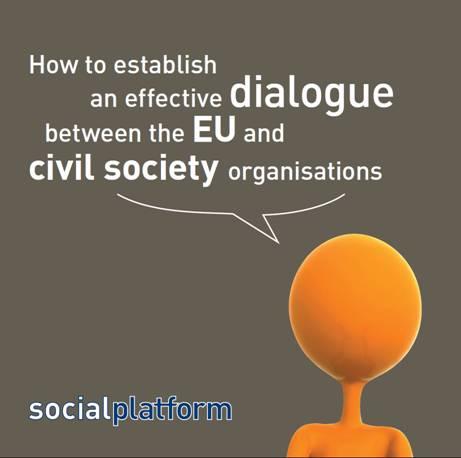 Poster della Piattaforma delle ONG sociali europee per promuovere il dialogo tra società civile e UE, 2009