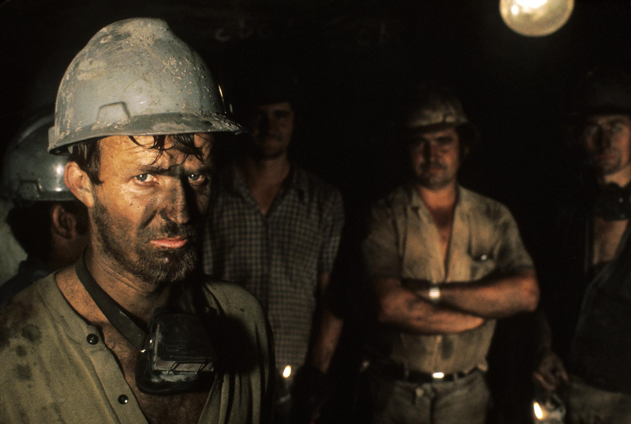 Coal miners in Criseluna, Santa Catarina, Brazil.