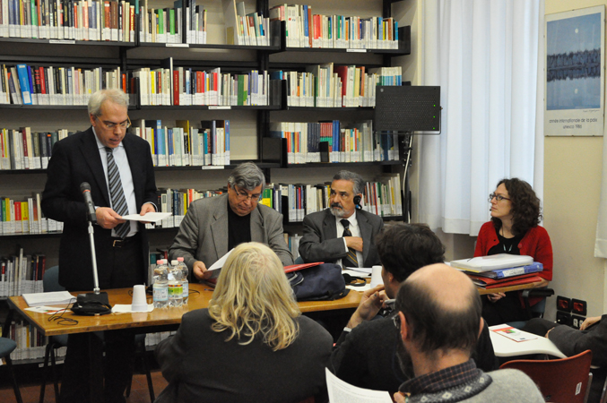 "The Human rights centre director, prof. Marco Mascia, welcoming ECRI Commission, ""P.Cancellieri"" library, Human rights centre, Padua, 24 November 2010."