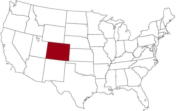 Il Colorado evidenziato nella mappa degli Stati Uniti