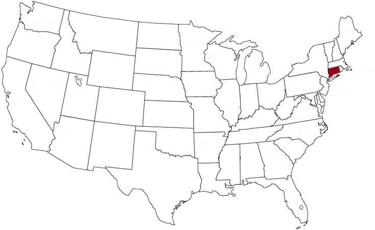 Il Connecticut evidenziato nella mappa degli Stati Uniti