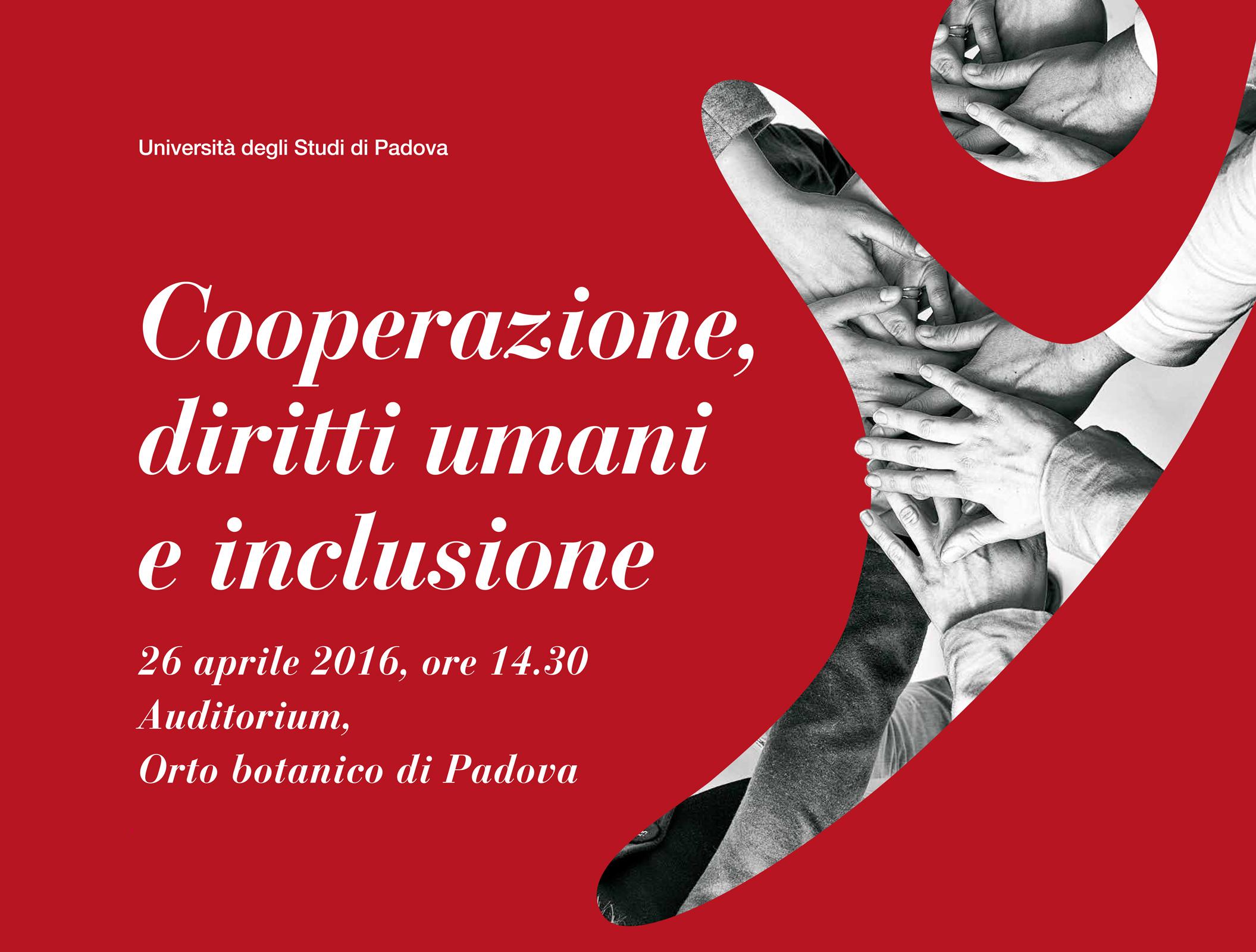 Cooperazione, diritti umani e inclusione, Padova, 26 aprile 2016