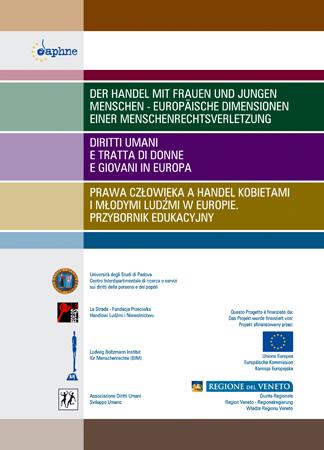 """Copertina del Toolkit """"Diritti umani e tratta di donne e giovani in Europa. Toolkit educativo per insegnanti e studenti"""""""