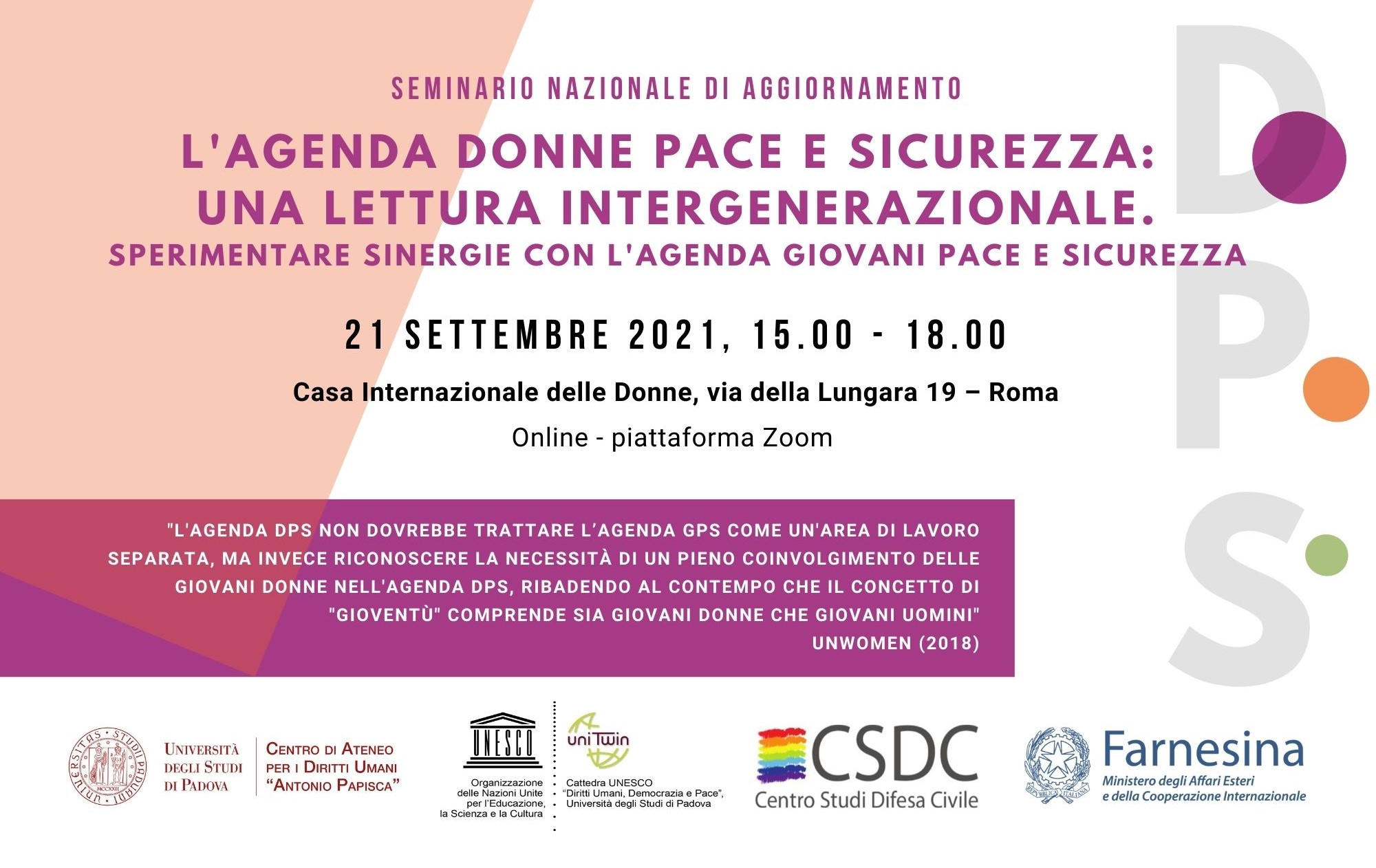 """Copertina - seminario """"L'agenda DPS: una lettura intergenerazionale"""", 21.09.21, CID, Roma"""