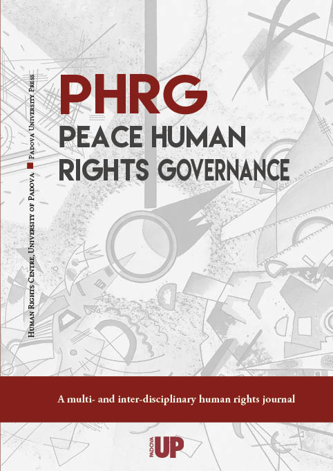Cover of the PHRG - Peace Human Rights Governance Journal, Human Rights Centre, University of Padova