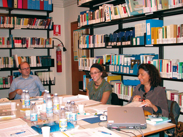 "Meeting of Project Daphne partners on ""Human Rights and Trafficking in Women and Young People in Europe. An Educational Toolkit for Teachers and Students"", september 2006. Around the table, from left: Paolo De Stefani, Francesca Vietti and Paola Degani"