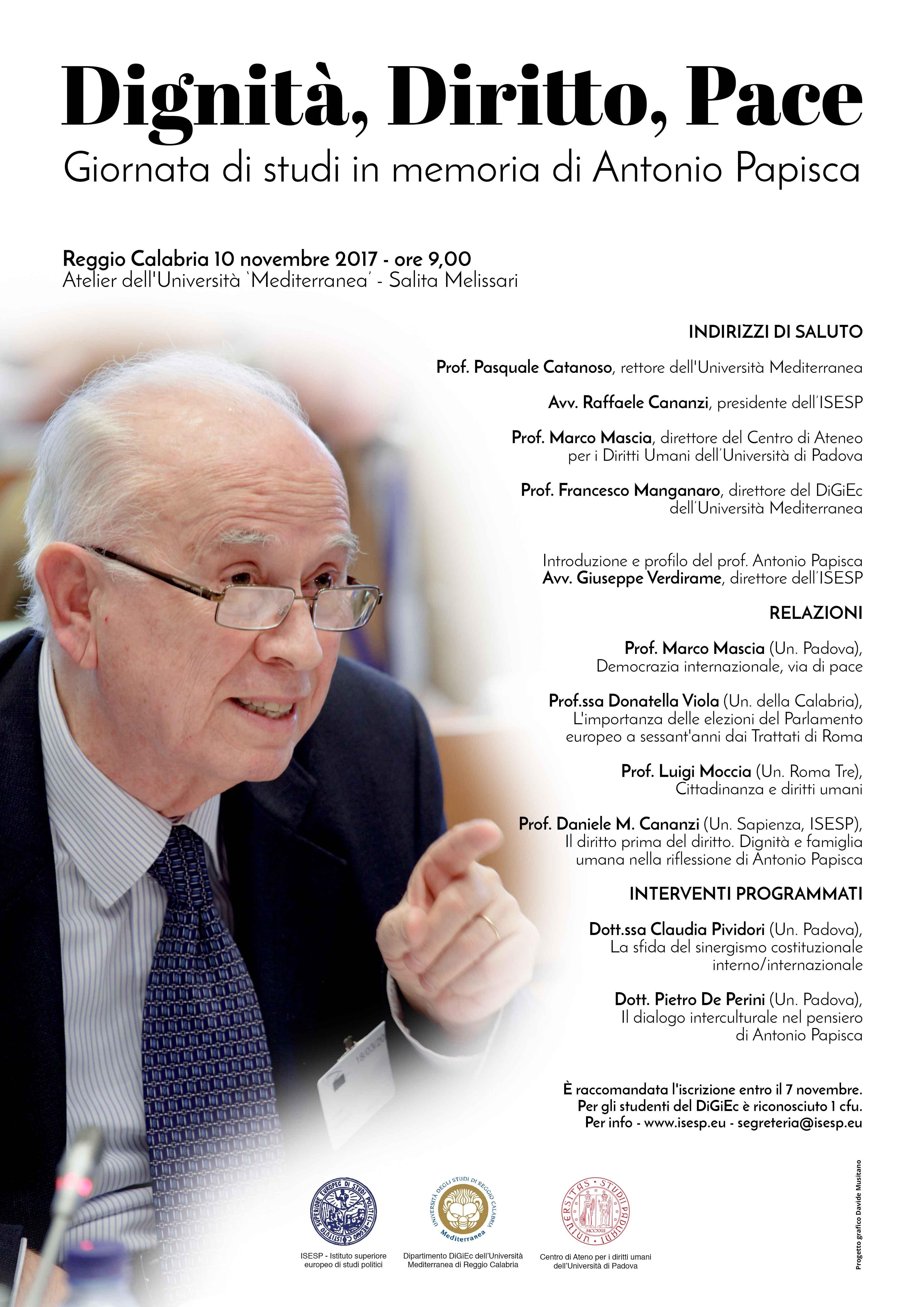 Dignità, Diritto, Pace. Giornata di studi in memoria di Antonio Papisca, Università Mediterranea, Reggio Calabria, 10 novembre 2017