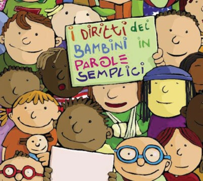"children with poster ""Child rights in child-friendlu version"", drawing"