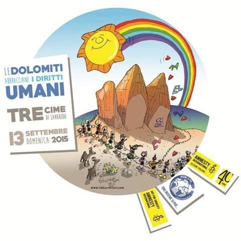 Una catena umana abbraccia le Dolomiti