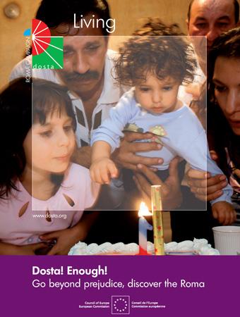 """Poster della campagna """"Dosta! Lotta ai pregiudizi nei confronti dei rom"""" promossa dal Consiglio d'Europa"""