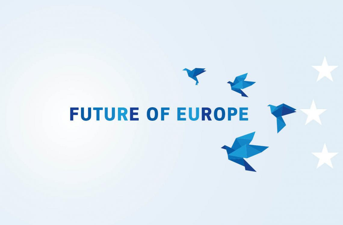 "European Commission - Future of Europe homepage banner; a semi circle of blue origami birds and stars around the words ""Future in Europe"""
